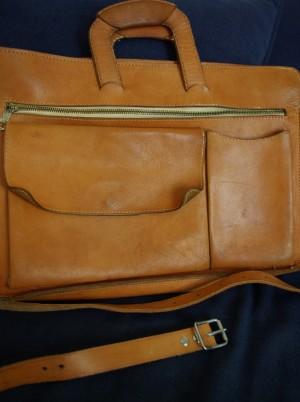 vintage väska och bälte cognac