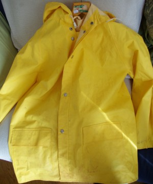 gult regnställ